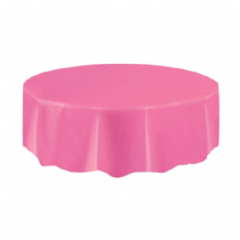 Hot Pink Table Cloth - Plastic Round Tablecover 1pc